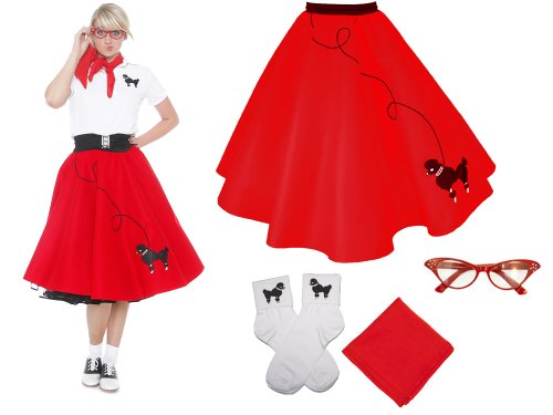 Hip Hop 50s Shop Adult 4 Piece Poodle Skirt Costume Set Red (Unique Homemade Costumes For Halloween)