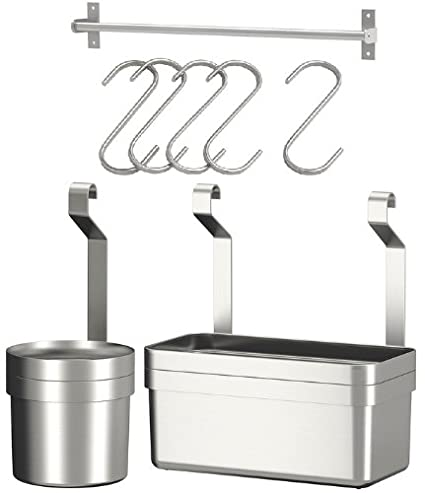 Ikea Stainless Steel Rail 23u0026quot; + 5 Hooks + Cutlery Caddy + Container  Kitchen Storage