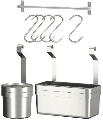 Ikea Stainless Steel Rail 23u0026quot; + 5 Hooks + Cutlery Caddy + Container Kitchen Storage  sc 1 st  Amazon UK & Ikea Stainless Steel Rail 23