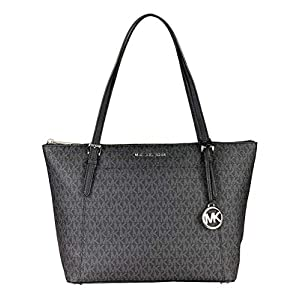 Michael Kors Ciara Large Ew Top Zip Black Coated Canvas Tote