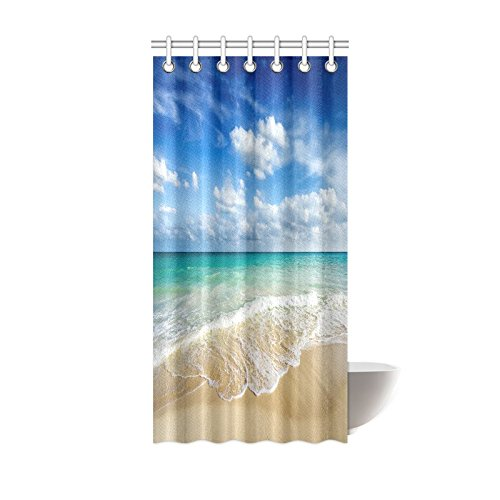 INTERESTPRINT Beach Ocean Theme Shower Curtain, Wavy Ocean Surface Scenery Polyester Fabric Mildew Resistant and Waterproof Bath Curtains, 36 by 72 Inches, Blue Turquoise Sand