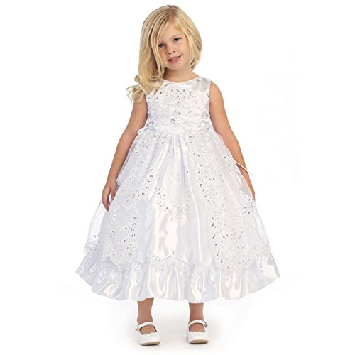 Angels Garment Baby Girls White Organza Embroidered Flower Girl Dress 12-18M by Angels Garment