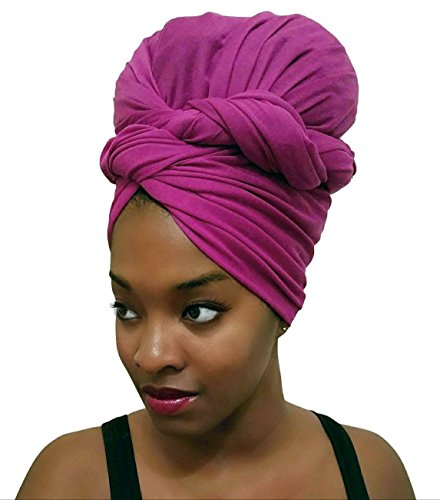 Rayna Josephine Stretch Head Wrap - Long Solid Color Turban Hair Scarf Tie by (Fuchsia Gem)