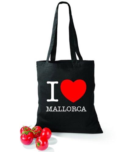 Artdiktat Baumwolltasche I love Mallorca Schwarz
