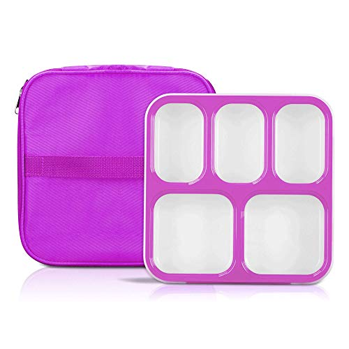 Bento Box, Fun life lunch box, Eco-Friendly, BPA Free, 5 Separated Compartments,Leakproof Container & Airtight Lid, For Healthy, Dry & Liquid Food, Portion Control, Meal Prep, Adults & Kids (purple)