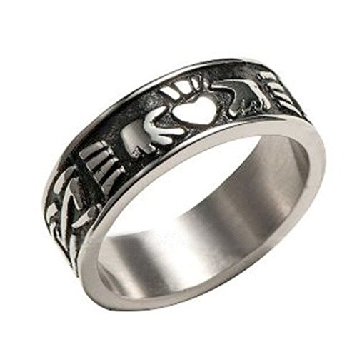 Rings for Men. Stainless Steel - Lovers Heart Celtic rings with Hear and Crown - Triquetra jewelry design - Irish gifts (11) (Heart Design Ring)