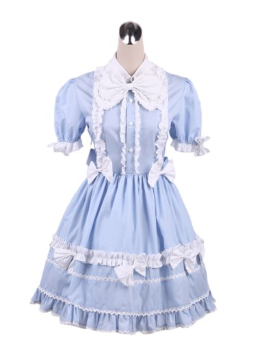 Antaina Blue Cotton Ruffle Lace Sweet Victorian Maid Lolita Cosplay Dress,M