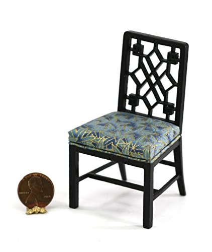 About A Chair 12 Side Chair.Dollhouse Miniature 1 12 Black Chinese Chippendale Side Chair W Blue Gold Upholstery