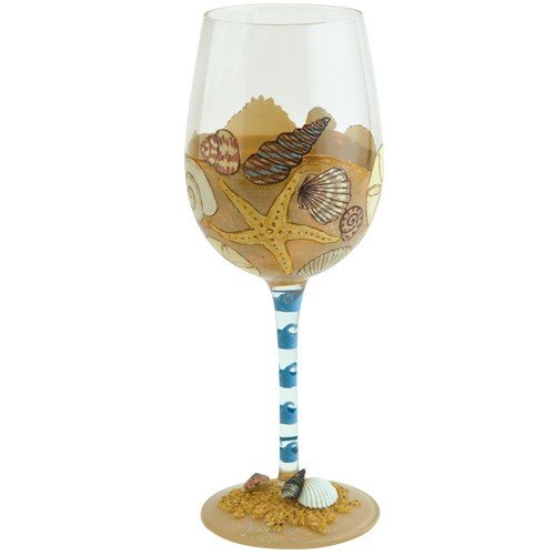 "Designs by Lolita ""Seaside"" Hand-painted Artisan Wine Glass, 15 - Glasses Beach"