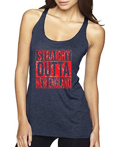 Straight Outta New England NE Fan   Fantasy Football   Womens Sports Premium Tri-Blend Racerback Tank Top, Vintage Navy, Large