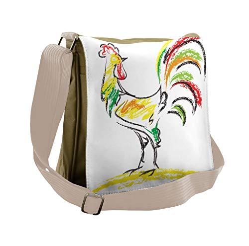 (Lunarable Gallus Messenger Bag, Rooster Chicken Farm Animal, Unisex Cross-body)