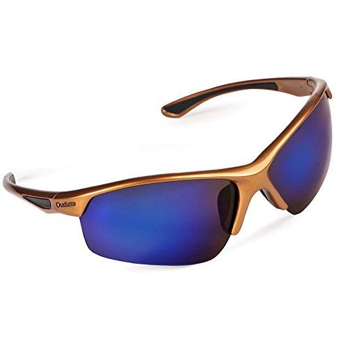 Duduma Polarized Sports Sunglasses for Baseball Cycling Fishing Golf Tr58 Superlight Frame (Gold/Blue)