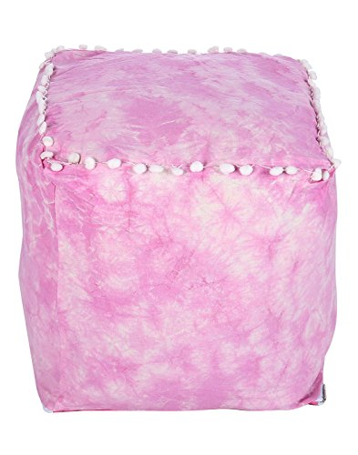 Colorfull Square Fuchsia Ottoman Cotton Pouf Cover For Dining Room By Rajrang