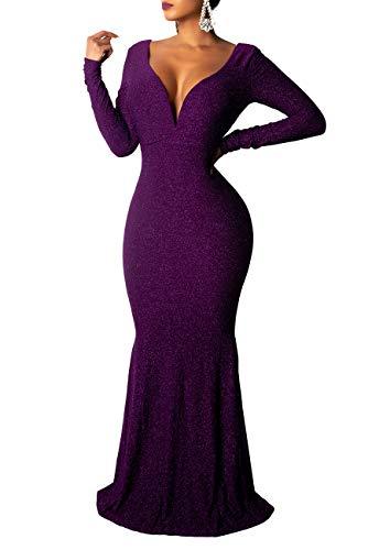 Remelon Women Long Sleeve Shiny Glitter V Neck Backless Bodycon Flowy Mermaid Party Maxi Long Dresses Purple L -