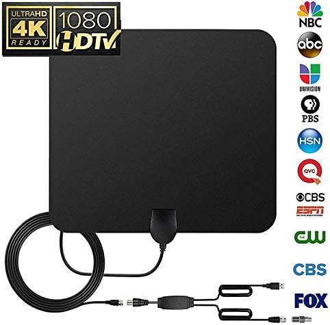 LOKIH Más Nueva Cubierta Antena De TV Digital para Los Canales Locales De 80 Millas De Alcance con Amplificador De Señal: Amazon.es: Hogar