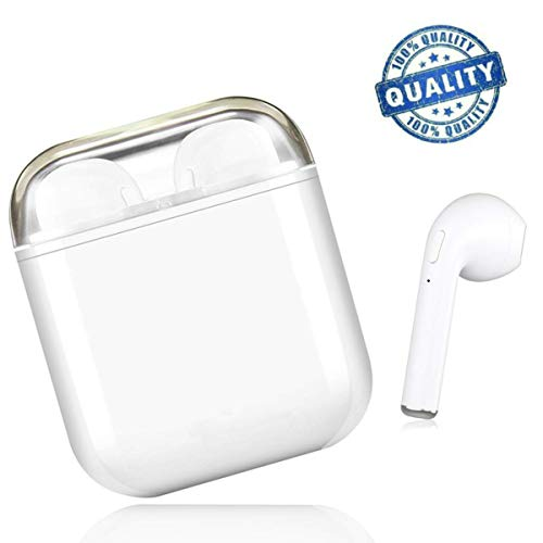 Bluetooth Headphones Wireless Earbuds Stereo Earphones Cordless Sports Headsets for iPhone XMAS/XR/X/8/7/6/6s Plus and Samsung Galaxy S7 S8 S9 Plus and Android Smart Phones-White