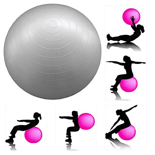 JERN Anti-Burst Fitness Exercise Stability Yoga Ball/Swiss, Birthing, Gym Ball 65 cm (Silver) Price & Reviews