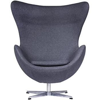 LeisureMod Arne Jacobsen Egg Chair In Dark Gray Wool