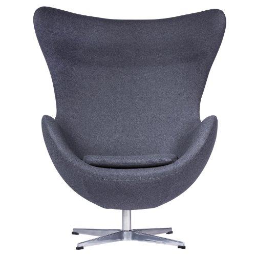 LeisureMod Arne Jacobsen Egg Chair in Dark Gray Wool For Sale