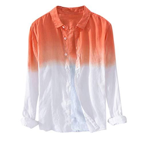 VEZAD Summer Men Breathable Lapel Collar Hanging Dyed Gradient Cotton Shirt -