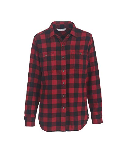 Woolrich Women's Buffalo Check Flannel Shirt, RED/BLK PLAID (Red), Size (Blk Plaid Button)