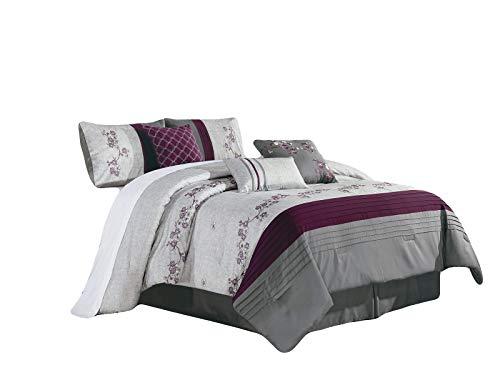 (HGS 7-Pc Akira Floral Blossom Vine Pleated Stripe Comforter Set Antique Silver Gray Purple)