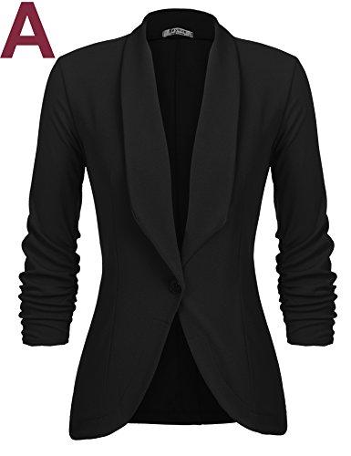 Beyove Women's 3/4 Sleeve Blazer Open Front Cardigan Jacket Work Office Blazer Black S by Beyove (Image #1)