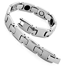 INBLUE Men's Magnetic Bead Tungsten Bracelet Link Wrist Silver Tone Black