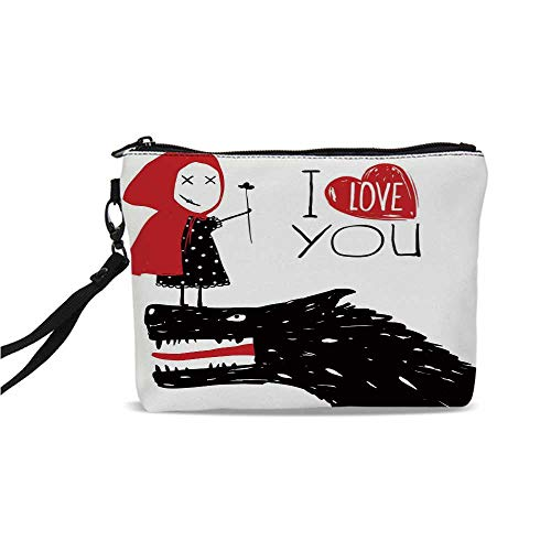 Quirky Decor Simple Cosmetic Bag,Little Red Riding Hood Loves Bad Horrible Wolf Plot Twist Fairytale Art for Women,9