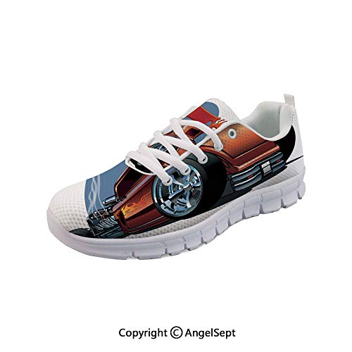 Athletic Running Shoes Hot Rod Antique Customized Engine Lightweight Sneakers -