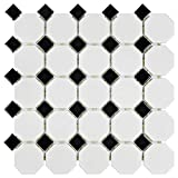 SomerTile FXLM2OWD Retro Octagon Porcelain Floor and Wall Tile, 11.5' x 11.5', Matte White with Glossy Black Dot