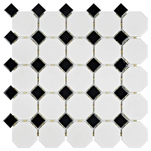 Black & White Ceramic Bathroom - SomerTile FXLM2OWD Retro Octagon Porcelain Floor and Wall Tile, 11.5