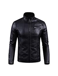 MODEOK Biker Men's Cafe Racer Antique Rider Distressed Leather Jacket