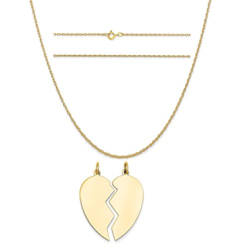 14k Yellow Gold 2 Piece Heart Charm on a 14K Yellow Gold Carded Rope Chain Necklace, 18