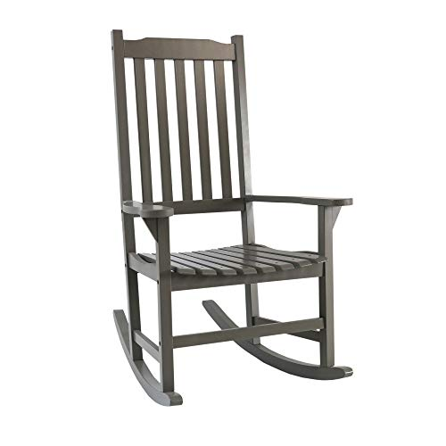 Knocbel Indoor & Outdoor High-Back Wooden Rocking Chair Porch Rocker Lounge Furniture for Patio Lawn Pool Deck (Grey)