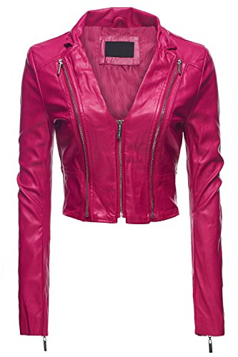 Sexy Moto Faux Leather Zip Up Slim Fit Crop Jackets, Large, 036-Fuchsia