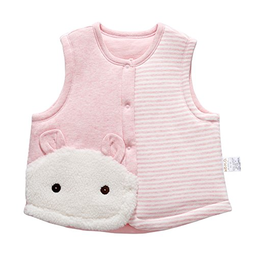 Monvecle Baby Cotton Warm Vests Unisex Infant to Toddler Padded Waistcoat Pink Rabbit 18-24m