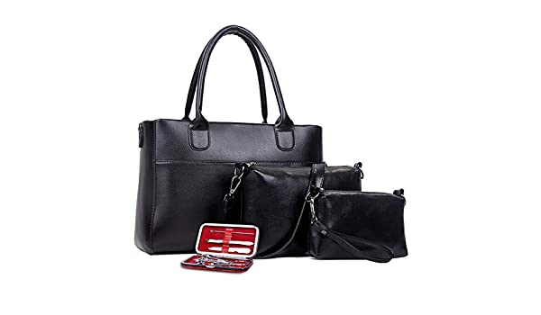 Color : Black Liweibao Handbag Sets for Women Women Fashion Handbags Synthetic Leather Shoulder Bag Purse Tote Bag Set 3pcs Tote Bag Shoulder Bag Top Handle Satchel Purse Set