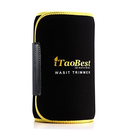Waist Trimmer Belt iTaoBest Adjustable Weight Loss Wrap Support Workout Belly Fat Burner for Women & Men Black+Yellow