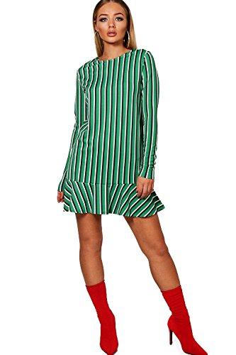 Damen Grün Eville Bold Stripe Drop Hem Long Sleeve Shift Dress Grün ...