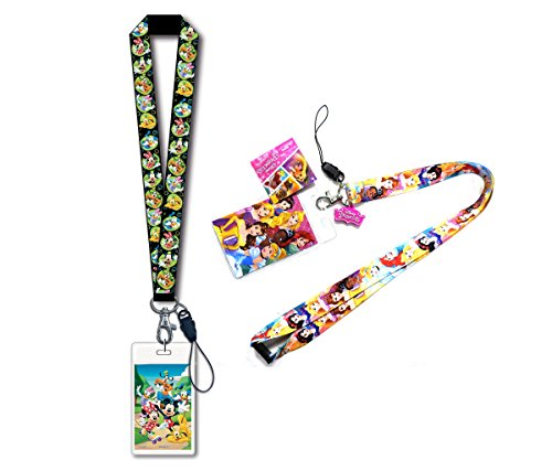 Mozlly Value Pack - Disney Princess Lanyard with Soft Touch Dangle Charm AND Mickey Mouse and Friends Black Lanyard with Card Holder - 18 inches - Novelty Character Accessories (Dangle Duck Donald)