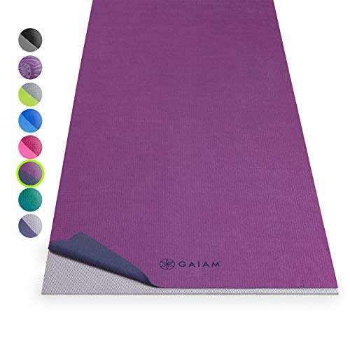 Gaiam No-Slip Yoga Mat Towel, Grape/Navy