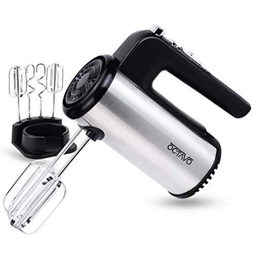 OCTAVO Electric Hand Mixer,5-Speed 300W Powerful Turbo function Handheld Mixer with Eject Function,Storage Base and 4 Metal Accessories for Whipping Mixing Cookies, Brownies, Dough Batters (sliver)