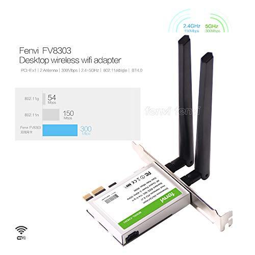 Fenvi Desktop PCI Express WiFi Dual-Band BT 4.0 2.4Ghz/5Ghz 600Mbps Module, 802.11 abgn, 2T/2R BT4.0 PCI-E PC Wireless Card Support Windows 7, Windows 8, Windows 8.1, Windows - Bluetooth 802.11a/g/n