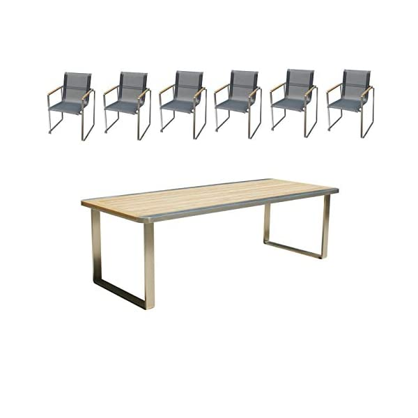 Linneborn - Set di mobili da Giardino Composto da 1 Tavolo da Giardino da 240 cm e 6 sedie in Acciaio Inox e Teak Metallico 1 spesavip