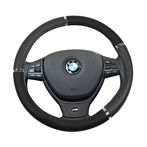 ver Universal 15 Inch Steering Wheel Cover Leather Protection Grip Steering Wheel Cover ()