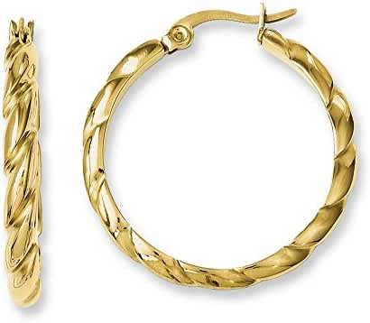 Stainless Steel Gold Pvd Plated and Twisted Hoop Earrings