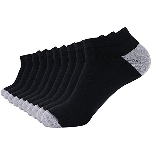 - Enerwear 10P Pack Men's Cotton Moisture Wicking Extra Heavy Cushion No Show Socks (10-13 / Shoe:6-12, Black)