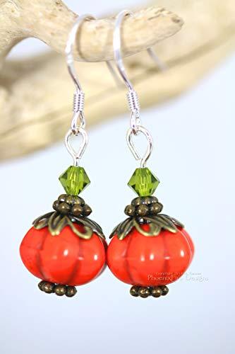 Pumpkin Earrings Swarovski Crystal Sterling Silver Halloween Jewelry Autumn Fashion ()