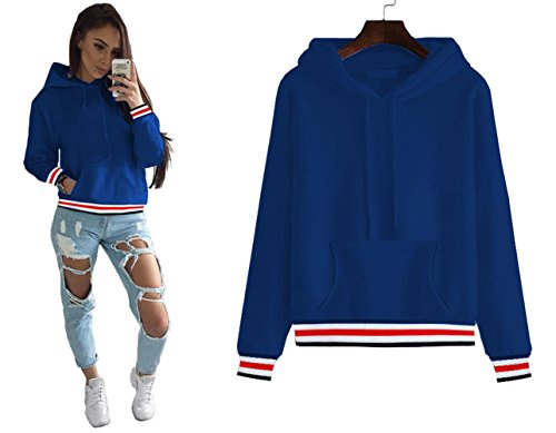 Longwu Women's Half Dome Hoodie Thickening Sweatshirt Casual,Loose Fit Pullover Hoodie Jacket With villus Navy (Striped Dome)
